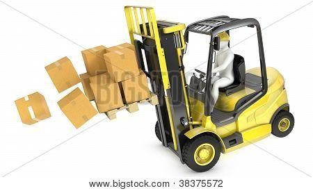 Overloaded Yellow Fork Lift Truck Falling Forward