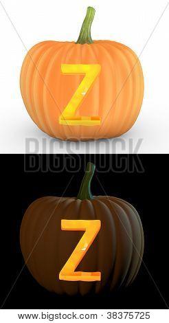 Z Letter Carved On Pumpkin Jack Lantern
