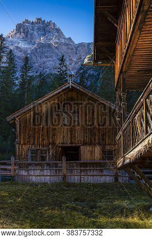 Huts In Val Fiscalina, Sesto Dolomites. South Tyrol. Bolzano. Italy