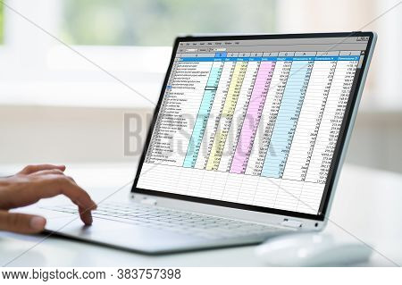 Computer Spreadsheet. Analyst Employee Working With Reports