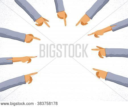 Hands With Pointing Fingers Shows Blank Copy Space Mockup For Advertising Banner Or Poster Design Ve