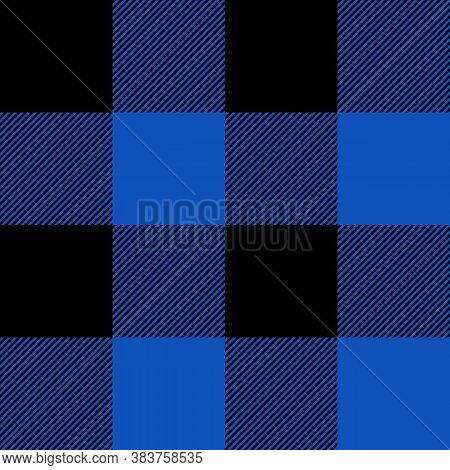 Tartan Sapphire Blue Plaid. Scottish Pattern In Black And Blue Cage. Scottish Cage. Traditional Scot