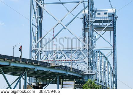 Vertical Lift Bridge Over Industrial Canal In New Orleans, Louisiana, Usa