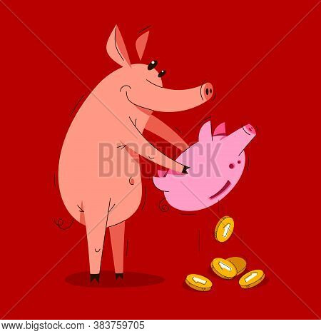 Funny Cartoon Pig With Piggybank Pulls Out Coins Savings Vector Illustration, Money Finance Theme Hu