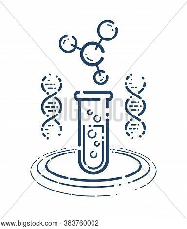 Test Tube And Dna Strand Vector Simple Linear Icon, Science Biology Biotechnology And Medicine Analy