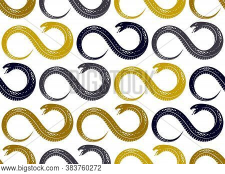 Repeat Snakes Seamless Vector Pattern, Tiling Endless Background With Venom Reptiles In Vintage Styl