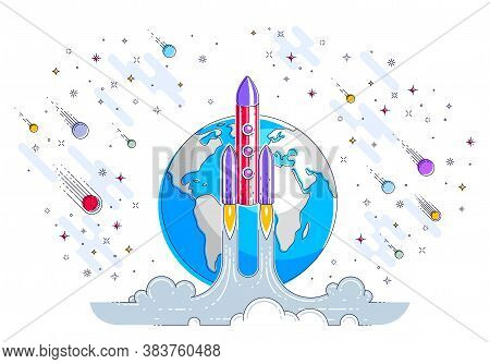 Rocket Start From Earth To Space To Discover Undiscovered, Surrounded By Comets, Asteroid, Meteors,