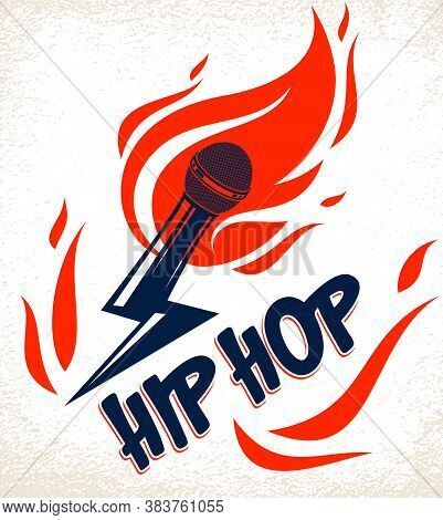 Rap Music Vector Logo Or Emblem With Microphone In A Shape Of Lightning Bolt And Flames Of Fire, Hot