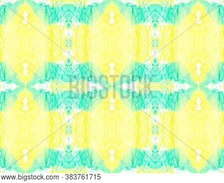 Water Colour Motif. Aquarelle Tie Dye Abstract Ceramic. Yellow, Green And White. Handmade Ethnic Wal