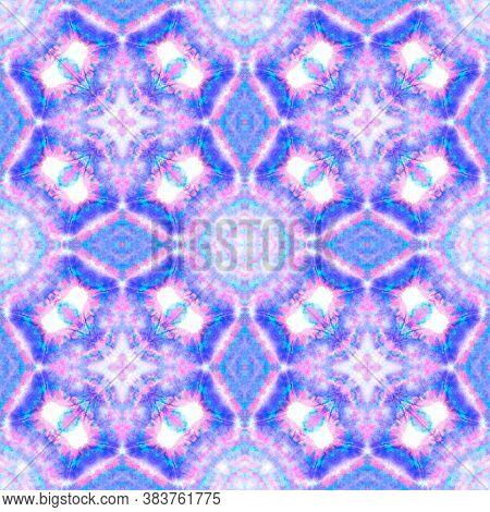 Seamless Victorian Pattern. Oriental Native Ethnic Print. Blue, Purple And Pink. Geometric Vintage T