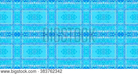 Folk Tribal Seamless Pattern. Ink Textured Fabric Design. Trendy Ethnic Rapport. Blue Colors. Graphi