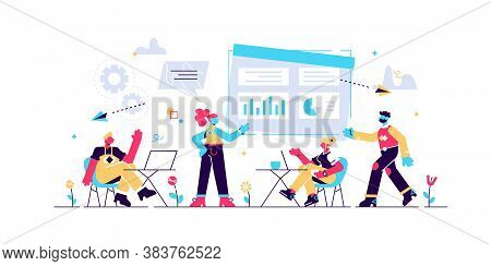 Business Team With Laptops Look At Digital Presentation With Charts. Digital Presentation, Office On