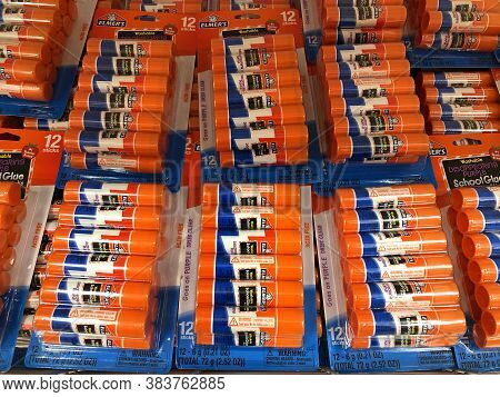 Alameda, Ca - Aug 12, 2020: Department Store Shelf With Multi Packs Of Elmers Glue Sticks. Back To S