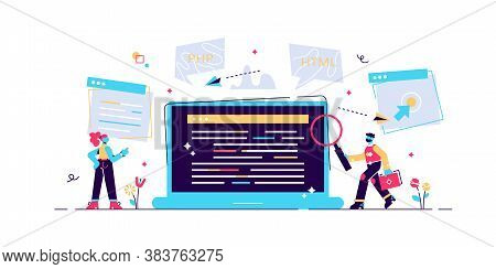 Concept Programmer, Coding, Programming, Website And Application Development . Vector Illustration,