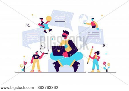 Blogger Character, Creative Blogging, Commercial Blog Posting, Copywriting, Vector Illustration, Con