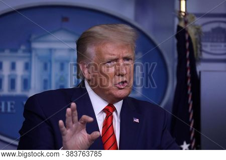 Washington Dc,united States,june 2020,american President Donald Trump In Meeting In The White House