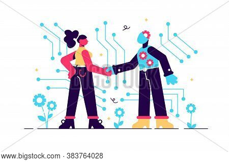 Artificial Intelligence, Ai With High Technology, Vector Illustration. Symbol Of Future Cooperation,
