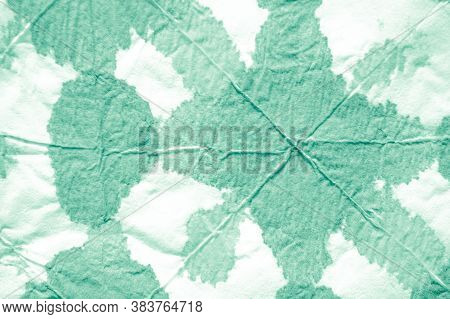 Raw Paper Texture. Green Or Neo Mint Color. Rough Abstract Aquarel Effect. Old Vintage Crumpled Patt