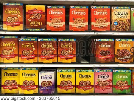 Alameda, Ca - Sept 2, 2020: Grocery Store Shelf With General Mills Brand Cereal, Cheerios In Various