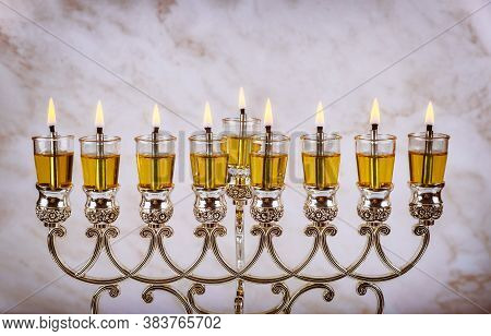 Chanukah Menorah Symbol Of Judaism Traditional Jewish Holiday