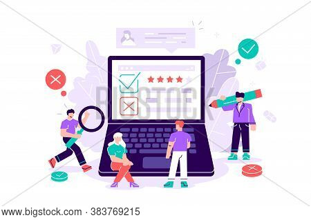 Flat Vector Illustration Isolated. Feedback Vector Illustration On White Background. Rating Of Work,