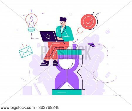 Happy Handsome Office Worker Sitting On An Hourglass And Doing Several Actions At The Same Time. Mul