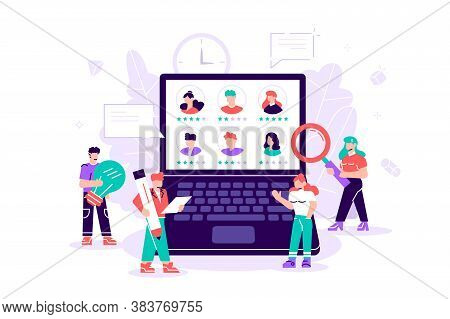 Flat, Vector. Concept Human Resources, Recruitment For Web Page, Banner, Presentation, Social Media,