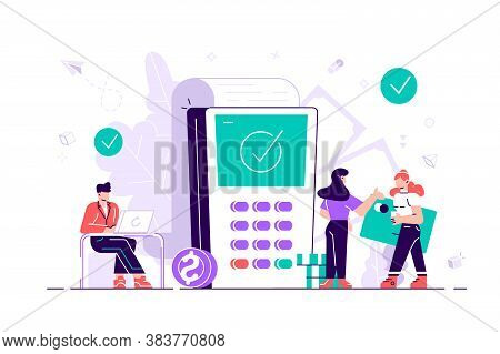 Shopping. Concept Payment Terminals With Tick Check Marks On Screen For, Social Media, Documents, Po