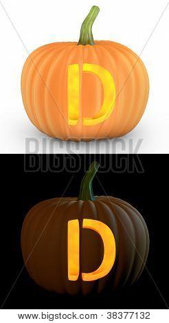 D Letter Carved On Pumpkin Jack Lantern
