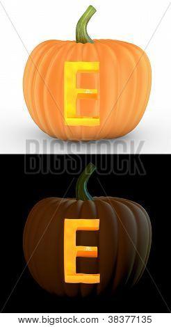 E Letter Carved On Pumpkin Jack Lantern