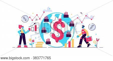 Macroeconomics Vector Illustration. Flat Tiny Finance Chart Persons Concept. Global Gdp Money Budget