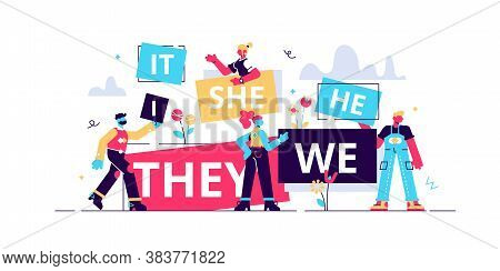 Pronouns Vector Illustration. Flat Tiny Substitutes Words Person Concept. Abstract Fun It, She, We,