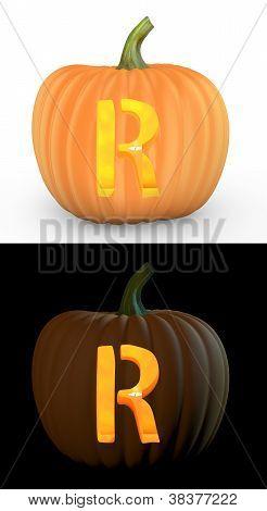 R Letter Carved On Pumpkin Jack Lantern
