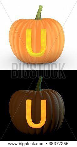 U Letter Carved On Pumpkin Jack Lantern