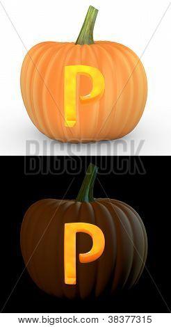 P Letter Carved On Pumpkin Jack Lantern