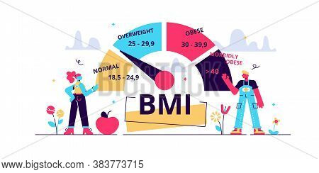 Body Mass Index Vector Illustration. Flat Weight Control Person Concept. Healthy Fat Measurement Met