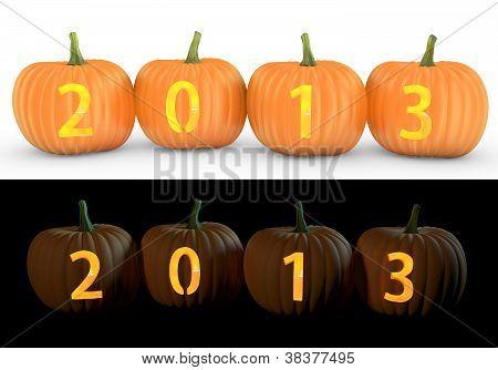 2013 Text Carved On Pumpkin Jack Lantern