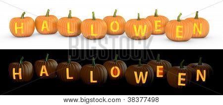 Halloween Text Carved On Pumpkin Jack Lantern
