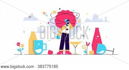 Hangover Vector Illustration. Flat Tiny Alcohol Overdose Drinking Persons Concept. Drunkard Brain, D