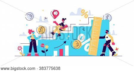 Growth Vector Illustration. Flat Tiny Increased Economical Persons Concept. Percent Rate Measurement
