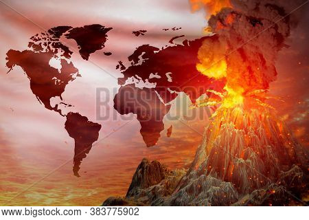 Volcano Blast Eruption At Night With Explosion On Haiti Flag Background, Troubles Because Of Natural