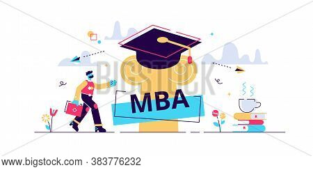 Mba Vector Illustration. Flat Tiny Master Of Business Administration Person Concept. Education Manag