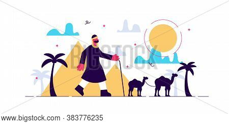 Nomads Vector Illustration. Flat Tiny Persons Without Habitation Concept. East And Arabic Culture Tr