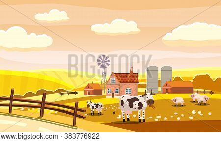 Autumn Farm Landscape Rural Hills Meadows Fields Countryside Cow Sheeps. Yellow Orange Panorama Hori