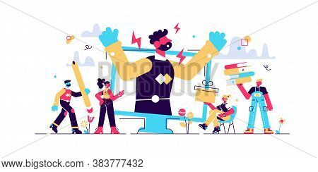 Stress Vector Illustration. Flat Tiny Office Pressure Work Persons Concept. Symbolic Businessman Emo