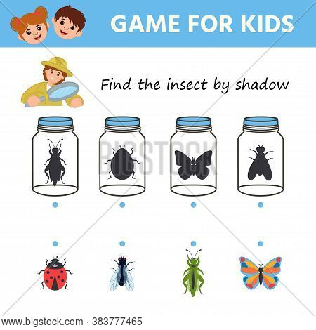 Educational Game For Children. Find The Insect By The Shadow. Set Of Funny Characters: Butterfly, Sp