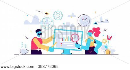 Daily Life Work Vector Illustration. Flat Tiny Job Routine Persons Concept. Professional Workplace O