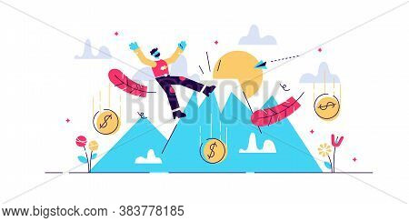 Fall Vector Illustration. Flat Tiny Economical Business Fail Persons Concept. Bankruptcy Warning And