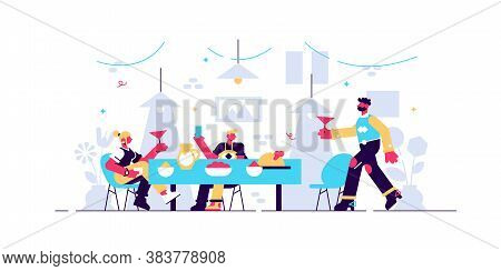 Family Dinner Vector Illustration. Flat Tiny Together Eating Persons Concept. Parents And Children W