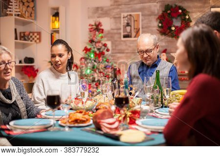 Happy Big Family And Delicious Food At Christmas Family Meeting.
